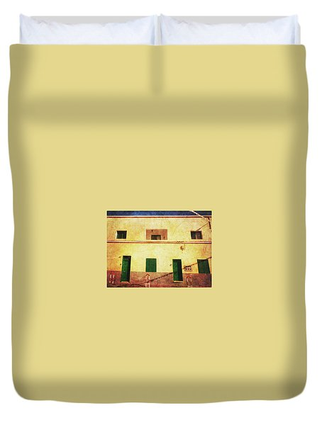 Duvet Cover featuring the photograph Alcala Yellow House With Green Doors by Anne Kotan