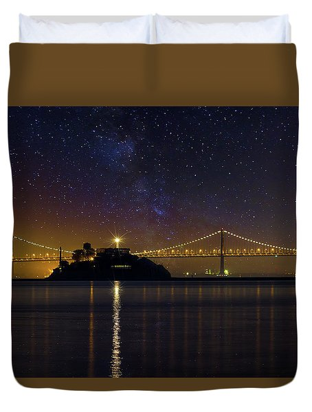 Alcatraz Island Under The Starry Night Sky Duvet Cover by David Gn