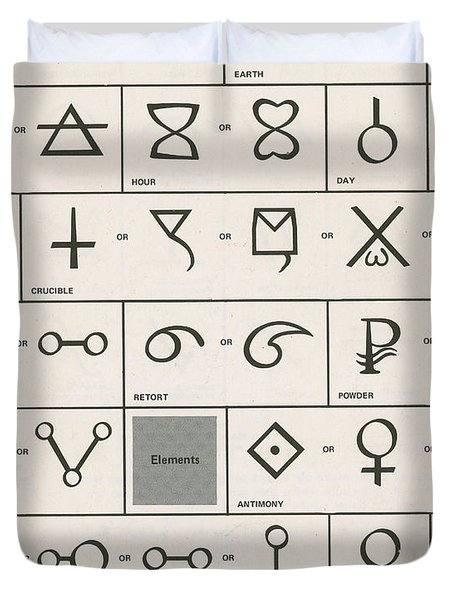 Alchemy Symbols Duvet Cover by Science Source
