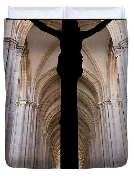 Alcobaca Monastery Church Crucifix Duvet Cover by Jose Elias - Sofia Pereira