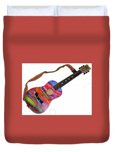 Alcohol Ink Guitar Duvet Cover