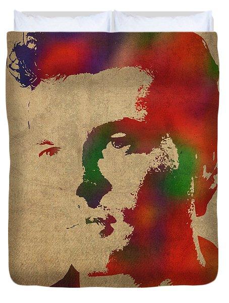 Alden Ehrenreich Watercolor Portrait Duvet Cover