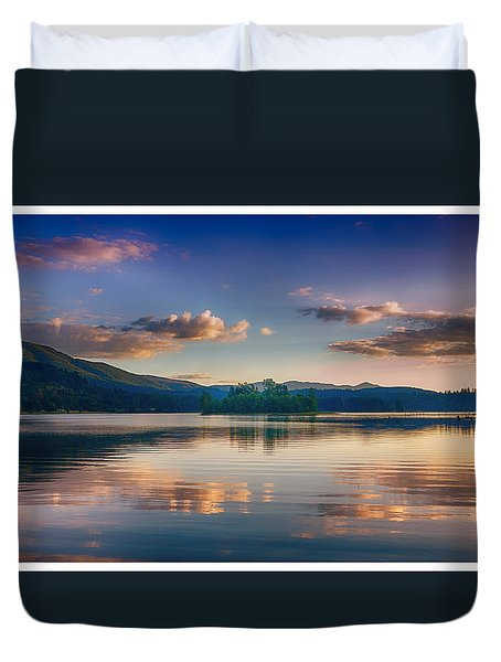 Alder Lake Sunset Duvet Cover