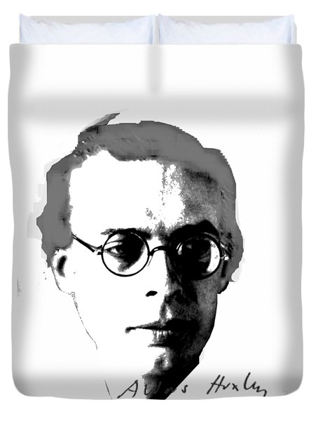 Aldous Huxley Duvet Cover by Asok Mukhopadhyay