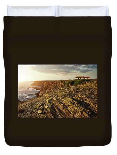 Duvet Cover featuring the photograph Alentejo Cliffs by Carlos Caetano