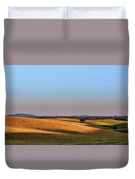 Duvet Cover featuring the photograph Alentejo Fields by Marion McCristall
