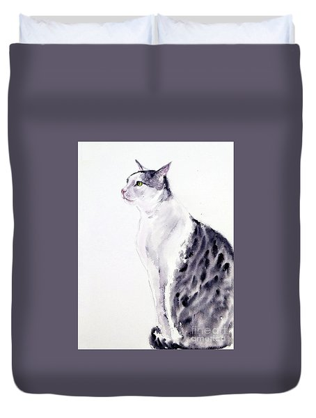 Duvet Cover featuring the painting Alert Cat by Asha Sudhaker Shenoy