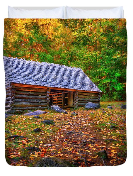 Alex Cole Cabin At Jim Bales Place, Roaring Fork Motor Trail In The Smoky Mountains Tennessee Duvet Cover