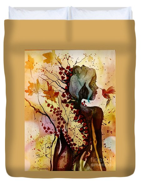 Duvet Cover featuring the painting Alex In Wonderland by Denise Tomasura