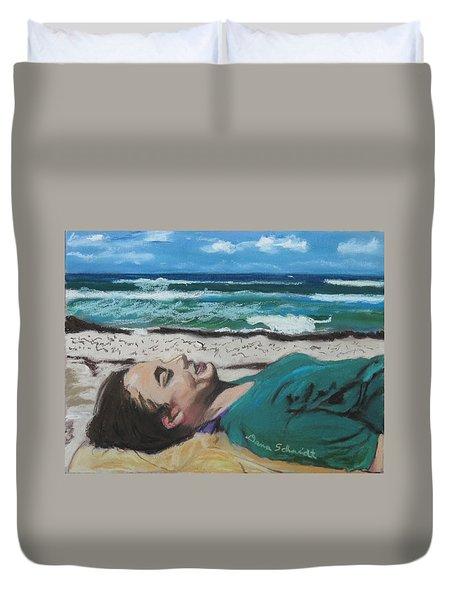 Granddaughter Alex At A Gulf Coast Beach, Florida Duvet Cover