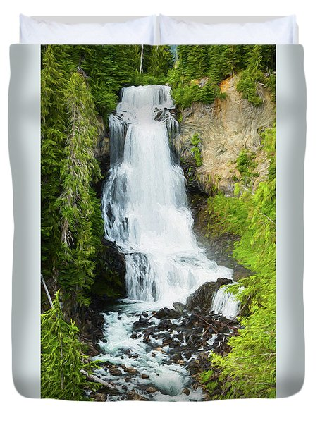 Duvet Cover featuring the photograph Alexander Falls - 2 by Stephen Stookey