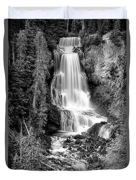 Duvet Cover featuring the photograph Alexander Falls - Bw 1 by Stephen Stookey