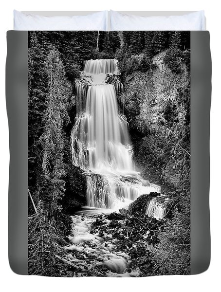 Duvet Cover featuring the photograph Alexander Falls - Bw 2 by Stephen Stookey
