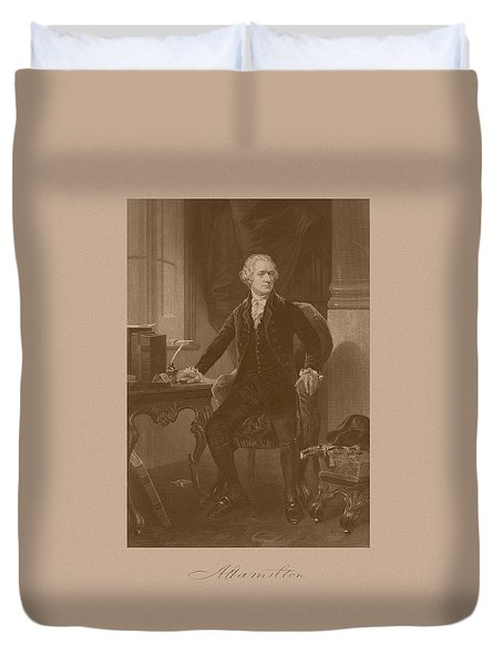 Alexander Hamilton Sitting At His Desk Duvet Cover by War Is Hell Store