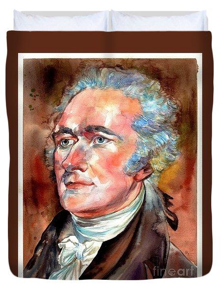 Alexander Hamilton Watercolor Duvet Cover