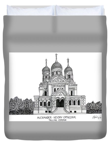 Duvet Cover featuring the drawing Alexander Nevsky Cathedral by Frederic Kohli