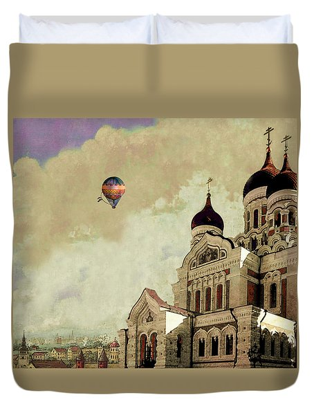 Duvet Cover featuring the digital art Alexander Nevsky Cathedral In Tallin, Estonia, My Memory. by Jeff Burgess