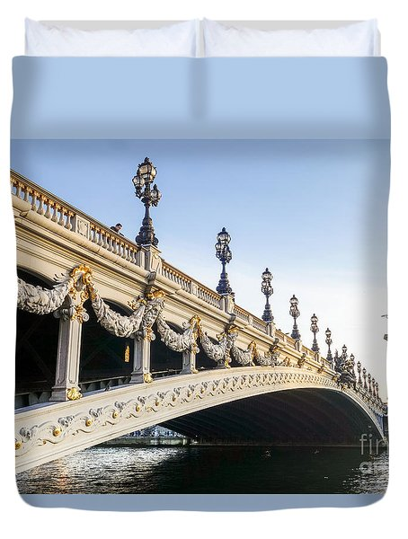 Alexandre IIi Bridge In Paris France Early Morning Duvet Cover