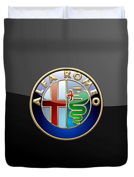 Alfa Romeo - 3 D Badge On Black Duvet Cover by Serge Averbukh