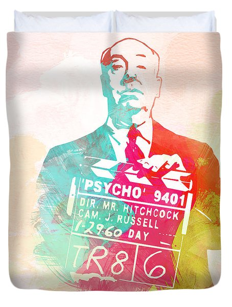 Alfred Hitchcock Duvet Cover by Naxart Studio