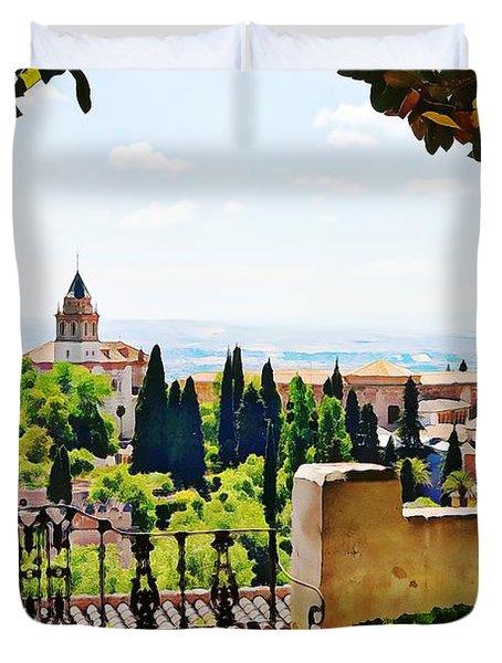 Alhambra Gardens, Digital Paint Duvet Cover
