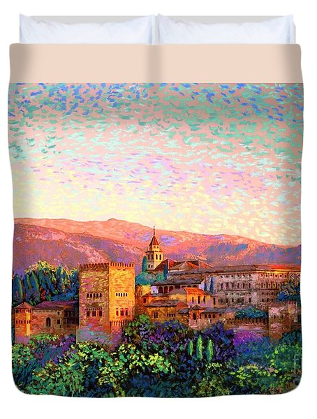Duvet Cover featuring the painting Alhambra, Grenada, Spain by Jane Small