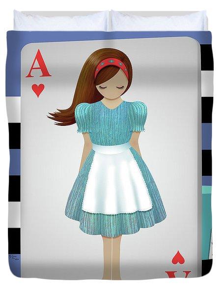 Alice 3d Flying Cards Duvet Cover by Audra Lemke
