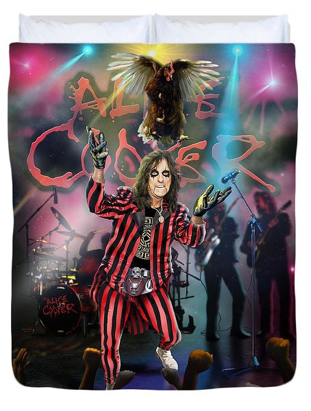 Duvet Cover featuring the painting Alice Cooper by Don Olea