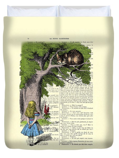 Alice In Wonderland And Cheshire Cat Duvet Cover