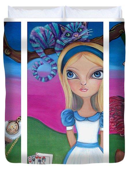 Alice In Wonderland Inspired Triptych Duvet Cover by Jaz Higgins