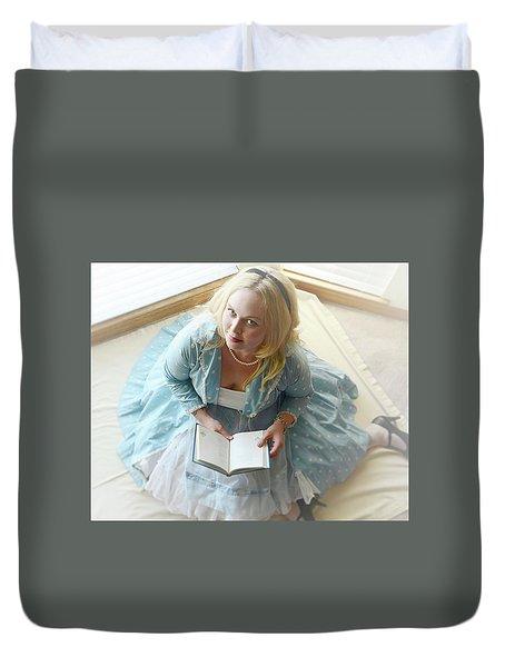 Alice In Wonderland Reads Her Story Duvet Cover