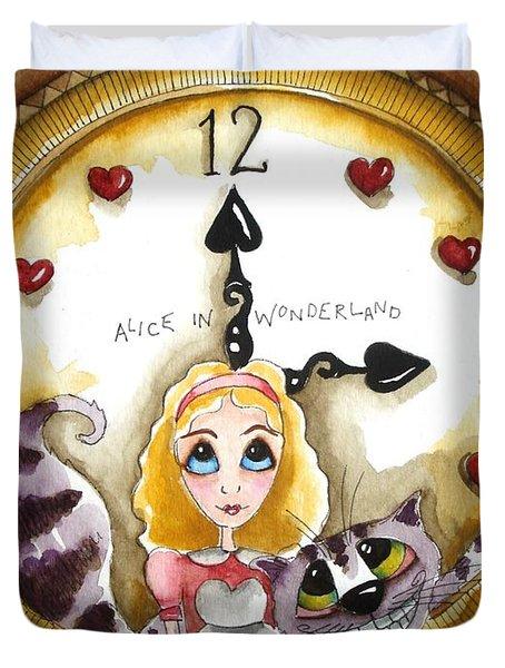 Alice In Wonderland Tick Tock Duvet Cover by Lucia Stewart