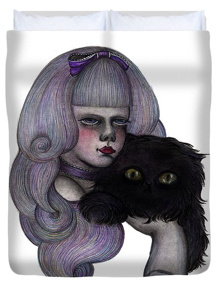 Alice With Black Cat Duvet Cover