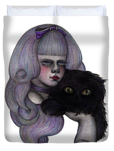Alice With Black Cat Duvet Cover