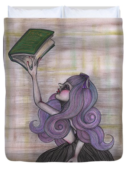 Alice With Old Book Duvet Cover
