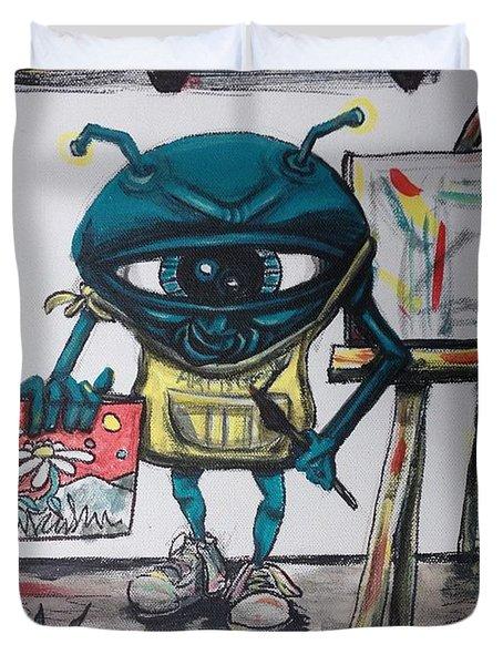 Alien Artist Duvet Cover