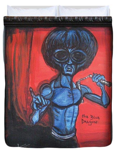alien Bruce Lee Duvet Cover