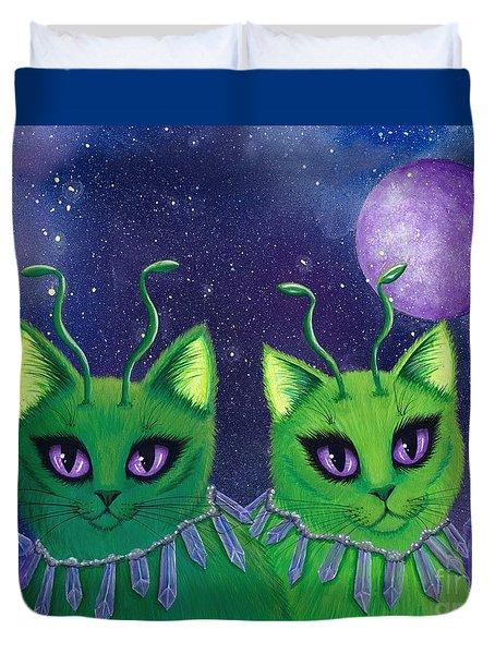 Alien Cats Duvet Cover