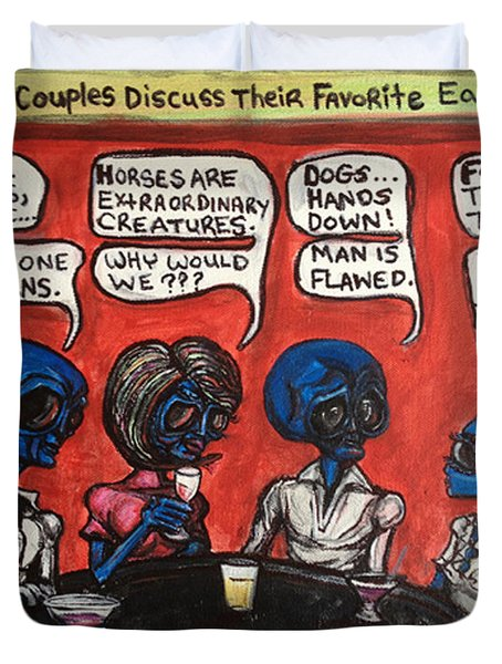 Alien Couples Discuss The Earths Creatures Over Drinks Duvet Cover