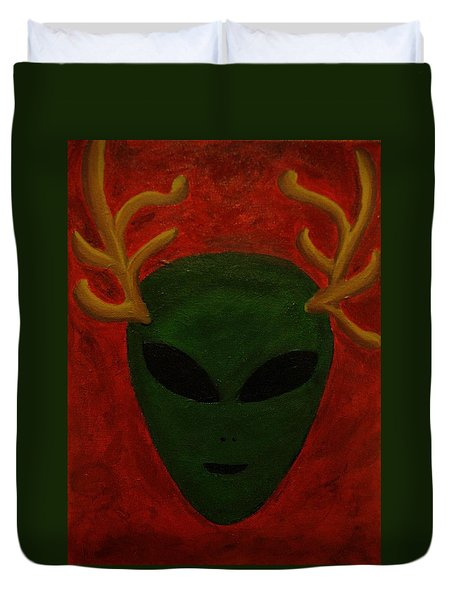 Alien Deer Duvet Cover by Lola Connelly