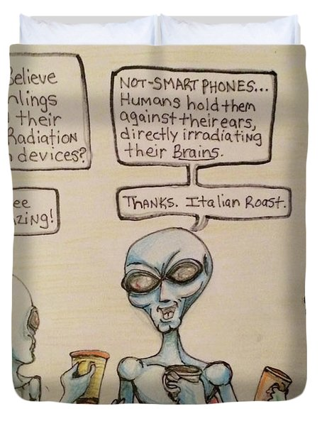 Alien Friends Coffee Talk About Cellular Duvet Cover