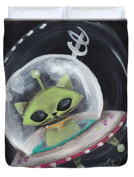 Alien Green Space Cat Duvet Cover by Abril Andrade Griffith