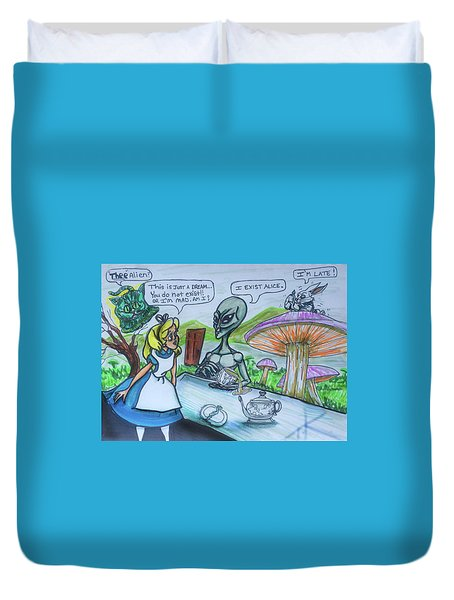 Alien In Wonderland Duvet Cover
