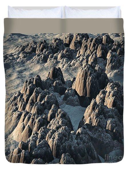 Duvet Cover featuring the sculpture Alien Landscape by Dave Luebbert