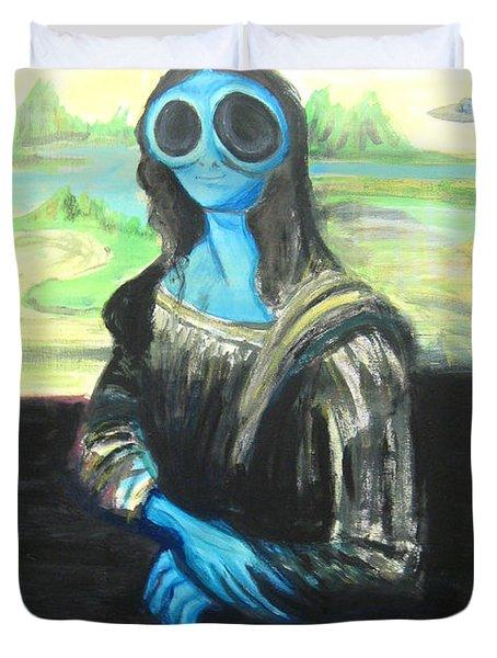 alien Mona Lisa Duvet Cover