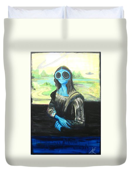 alien Mona Lisa Duvet Cover