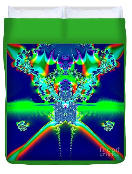 Duvet Cover featuring the digital art Alien Poodle Fractal 96 by Rose Santuci-Sofranko