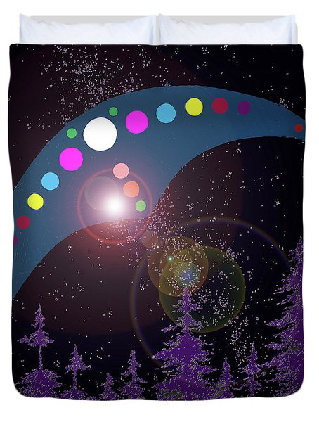 Duvet Cover featuring the painting Alien Skies by James Williamson