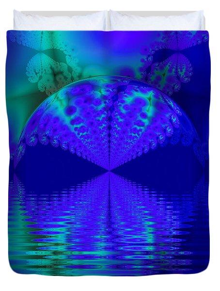 Alien Sunset Over Fantasy Lake Duvet Cover