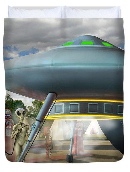 Alien Vacation - Gasoline Stop Duvet Cover by Mike McGlothlen